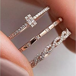 値下げ 3個 セット 指輪 レディース リング 安い キラキラ ラインストーン(リング(指輪))