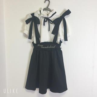 Ank Rouge - アンクルージュ 肩紐つき黒スカート