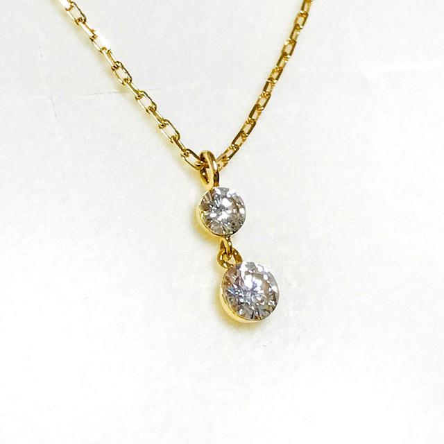 agete(アガット)のagete  アガット ダイヤモンドネックレス 0.15ct K18YG レディースのアクセサリー(ネックレス)の商品写真