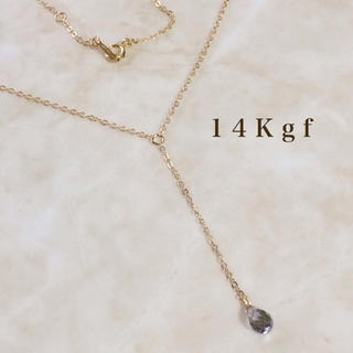 STAR JEWELRY - 14Kgf/K14gf グレートパーズYラインネックレス 天然石ネックレス