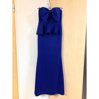 デイジーストア(dazzy store)のBIGリボン付きストレッチペプラムベアマーメイドラインロングドレス ブルー(ロングドレス)