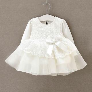 新品♡60-70♡フォーマルセレモニー 長袖刺繍ベビードレス♡白