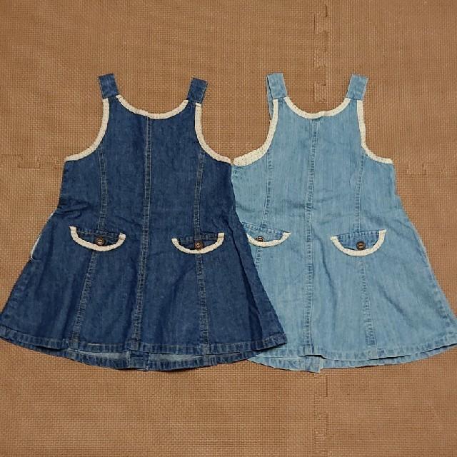 Biquette(ビケット)のジャンパースカート デニム 95 セット キッズ/ベビー/マタニティのキッズ服女の子用(90cm~)(ワンピース)の商品写真