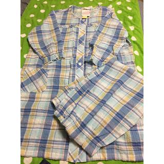 《新品・タグ付き未使用》マタニティ パジャマ 8分袖 M〜Lサイズ サックス