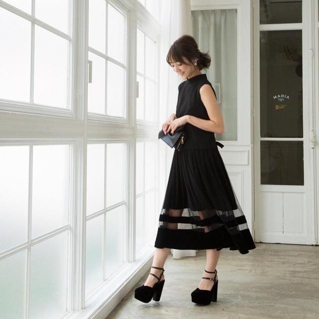 MERCURYDUO(マーキュリーデュオ)の★mercuryduo★チュール×ベロアスカート★マーキュリーデュオ★ レディースのスカート(ロングスカート)の商品写真