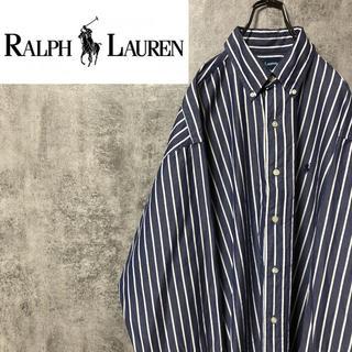 Ralph Lauren - 【激レア】ラルフローレン☆ワンポイント刺繍ロゴ入りストライプシャツ 90s