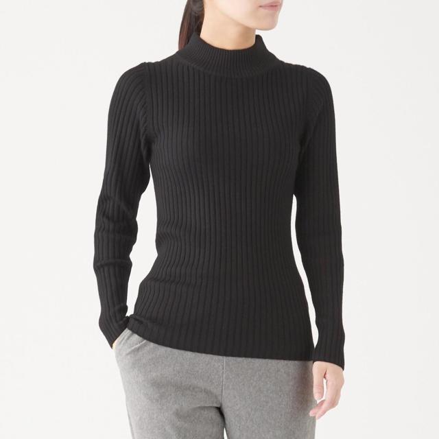 MUJI (無印良品)(ムジルシリョウヒン)の首のチクチクをおさえた 洗えるワイドリブ編みハイネックセーター  レディースのトップス(ニット/セーター)の商品写真