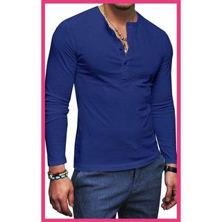 ☆大人気☆ヘンリーネック Tシャツ 長袖 メンズ カットソー ロング ブルー 青