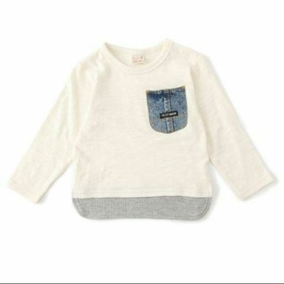 プティマイン(petit main)のプティマイン ロンT デニムポケット レイヤード(Tシャツ/カットソー)