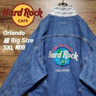 《入手困難》ハードロックカフェ オーランド デニムジャケット ビッグ刺繍ロゴ(Gジャン/デニムジャケット)