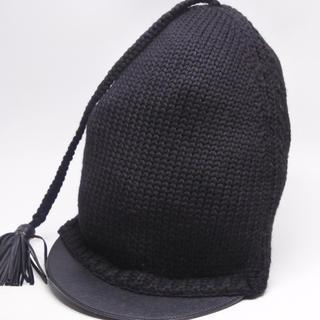 プラダ(PRADA)のPRADA プラダ 帽子 CAP ウール ブラック 襟足付き M 美品 正規(キャップ)