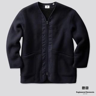エンジニアードガーメンツ(Engineered Garments)の【新品】エンジニアードガーメンツ×ユニクロ フリースノーカラーコートNAVY M(ブルゾン)