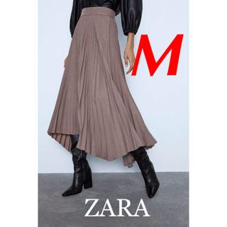 ZARA - 新品 完売品 ZARA M 裾アシンメトリー プリーツ スカート