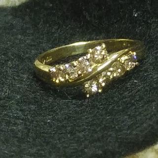 K18 ブラウンダイヤ0.5ctのダブルラインリング 天然ダイヤモンド(リング(指輪))