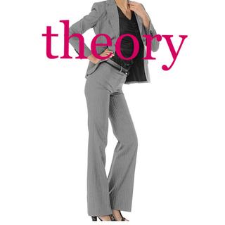 セオリー(theory)の本日限定 セオリー グレー ストライプ スーツ 上下セット キュプラ使用(スーツ)