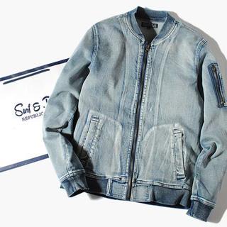 ロンハーマン(Ron Herman)のインディゴカットデニムMA-1ジャケット ブリーチL Gジャン 新品(Gジャン/デニムジャケット)