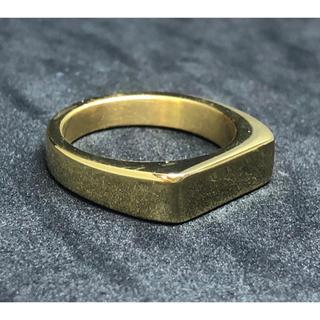 印台 22号 ハンコ 四角 スクエア 指輪 ギフト メンズ  ゴールド 金