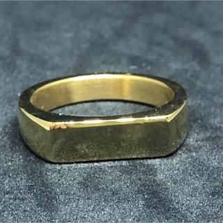 印台 16号 ハンコ 四角 スクエア 指輪 ギフト メンズ  ゴールド 金