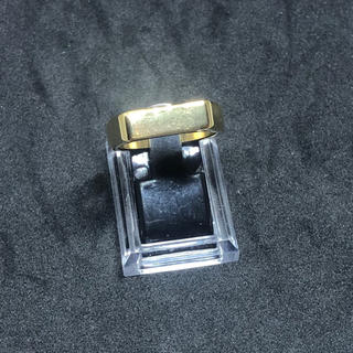 印台 24号 ハンコ 四角 スクエア 指輪 ギフト メンズ  ゴールド 金(リング(指輪))