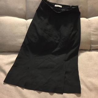 プラダ(PRADA)のPRADAプラダ 黒アセテート&レーヨン フレアスカート サイズ40 イタリア製(ひざ丈スカート)