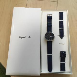 アニエスベー(agnes b.)のアニエスベー 腕時計 ネイビー ユニセックス 美品 替バンド付き(腕時計(アナログ))