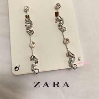 ZARA - ZARA ロングラインストーンピアス ザラ ピアス 大ぶり 新品未使用