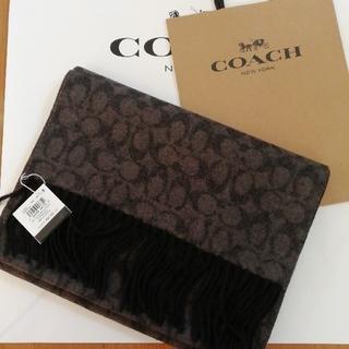 COACH - 正規品 コーチ シグネチャー カシミアウールマフラー黒 新品、袋付き