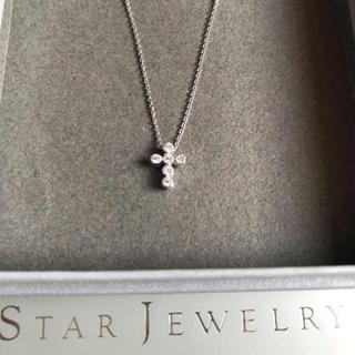 STAR JEWELRY - 【美品】スタージュエリー フラワーセッティング ダイア クロス ネックレス☆