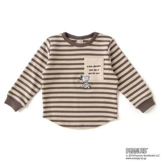 petit main - 【新品、未使用】プティマイン PEANUTSコラボ ボーダーポケットロゴTシャツ