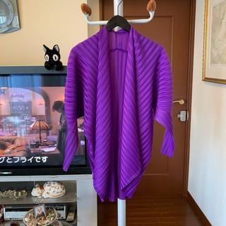 PLEATS PLEASE ISSEY MIYAKE - イッセイミヤケ プリーツプリーズ 紫色 光沢のある綺麗な羽織り