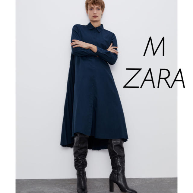 ZARA(ザラ)のZARA ザラ ワンピース プリーツ シャツワンピース レディースのワンピース(ロングワンピース/マキシワンピース)の商品写真