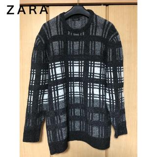 ZARA - ZARA ザラ モノトーンチェック ビッグシルエットセーター XLサイズ