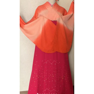 卒業式♥️洗える袴セット♥️あられ地模様桜散らしの小振袖とキラキラ刺繍袴