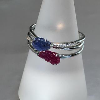 K18 サファイア  ダイヤモンド ルビー 指輪 リング(リング(指輪))