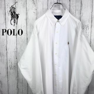 Ralph Lauren - 【美品】【90s】【ラルフローレン】BDシャツ☆ロゴ刺繍☆XL☆ホワイト