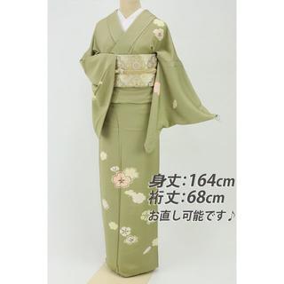 《上質豪華■桜の花模様付下げ■油色グリーン■背紋有◆袷正絹着物◆SG11-42》(着物)