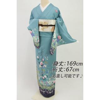 《豪華金彩■蝶の舞う洋花模様訪問着■水浅葱色◆袷正絹着物◆HA12-44》(着物)