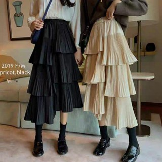 Lily Brown - PLEATED ASYMMETRY SKIRT.