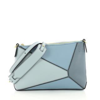 ロエベ(LOEWE)の美品 Loewe ロエベ パズルバッグ ミニポシェット ブルー 保護袋•保証書(ショルダーバッグ)