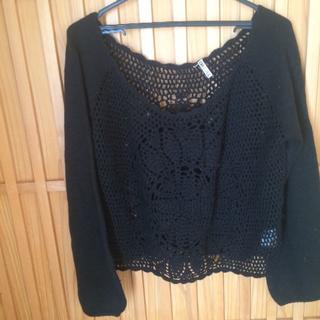 LIP SERVICE - リップサービスのカギ編みの黒いセーター