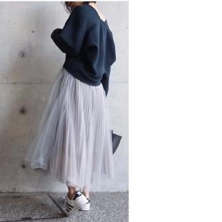 アクアガール(aquagirl)のラベンダー パープル グレー プリーツ チュールスカート(ロングスカート)