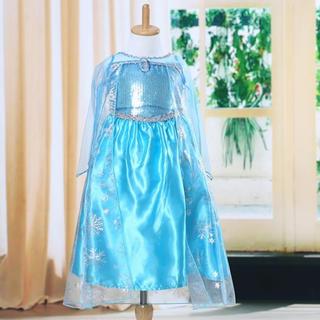 アナトユキノジョオウ(アナと雪の女王)の【サイズ100】エルサ風ドレス+ブローチ付(ドレス/フォーマル)