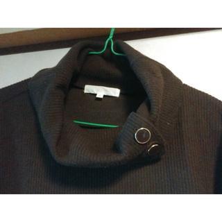 グローブ(grove)の襟大きいプルオーバー長袖[チョコ](ニット/セーター)