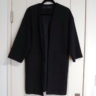 ザラ(ZARA)のZARAザラノーカラーコート黒Sジャケット(ノーカラージャケット)