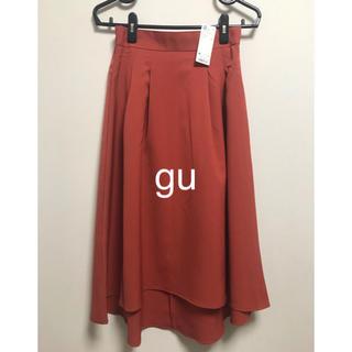 ジーユー(GU)のgu  タックフレアスカート  オレンジ 未使用品☆(ひざ丈スカート)