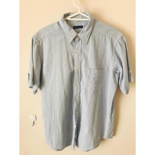 macchio シャツ ストライプ ブルー 半袖(シャツ)
