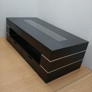 テーブル リビングテーブル ローテーブル ガラス 引き出し付き ブラック(ローテーブル)