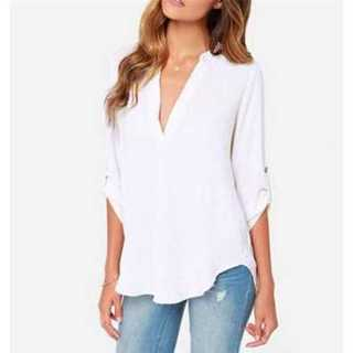 ブラウス シフォン シャツ Vネック 長袖 ゆったり シンプル ホワイト S(シャツ/ブラウス(長袖/七分))
