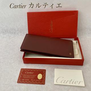 Cartier - Cartier カルティエ パシャ レザー 長財布 中古 ワインレッド