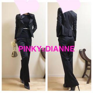 Pinky&Dianne - 【ピンキーアンドダイアン】定価4.7万 スタイル美人上質サテンパンツスーツ38黒